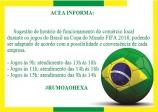 Sugestão de Horário de Funcionamento Jogos do Brasil na Copa do Mundo FIFA 2018.